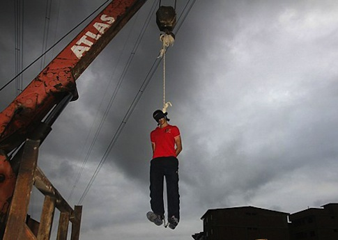 An Atlas crane is used during a public hanging in Iran