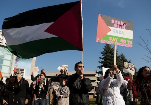 An anti-Israel rally at the University of Michigan in 2012 / AP