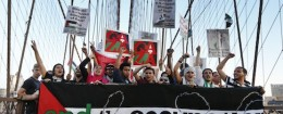 Anti-Israel protest on New York City's Brooklyn Bridge / AP