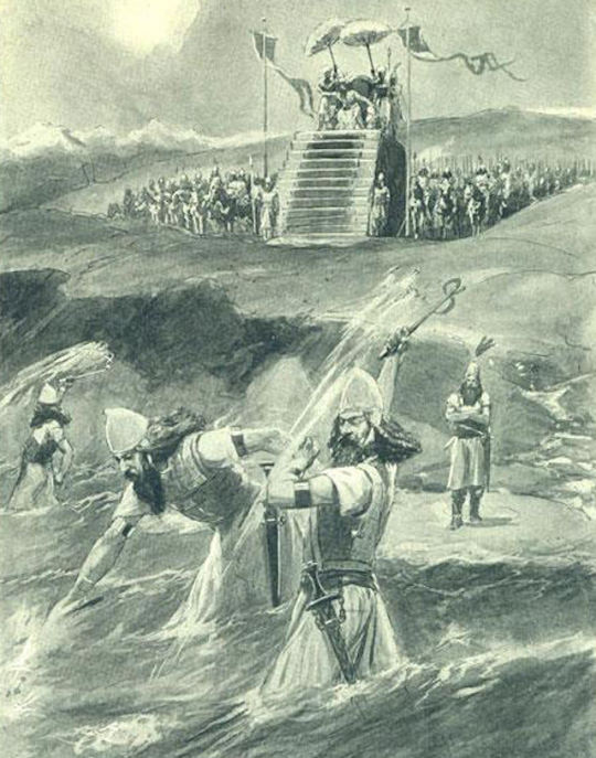 Xerxes has the Hellespont whipped