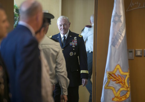 General Martin E. Dempsey arrives to deliver a statement in Tel Aviv