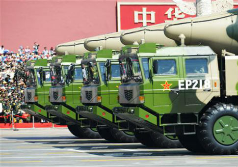 DF-21D anti-ship ballistic missiles displayed during a military parade in China / AP