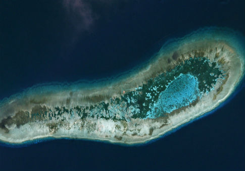 Vietnamese-held Ladd Reef, in the Spratly Island group in the South China Sea / Planet Labs Handout via REUTERS
