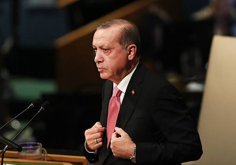 Turkish President Recep Tayyip Erdogan speaks to world leaders at the 72nd United Nations (UN) General Assembly at UN headquarters in New York on September 19, 2017 in New York City. Topics to be discussed at this year's gathering include Iran, North Korea and global warming. / Getty Images