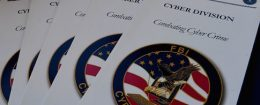 FBI brochures on combating cyber crime on display at the Cyber Crime Prevention Symposium in Los Angeles, California