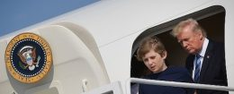 President Donald Trump and Barron Trump step out of Air Force One