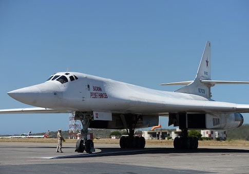 A Russian Tupolev Tu-160 strategic long-range heavy supersonic bomber aircraft is pictured upon landing at Maiquetia International Airport, just north of Caracas